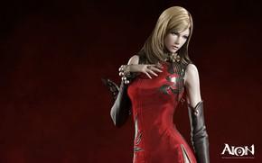 Картинка девушка, блондинка, красный фон, Aion The Tower of Eternity