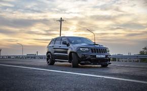 Картинка дорога, закат, srt, road, srt8, jeep, jeep grand cherokee, jeeper, jeep srt, ingushetia, ингушетия, назрань, …