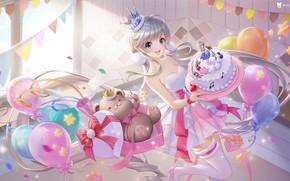 Картинка шарики, настроение, игрушка, аниме, арт, мишка, тортик, детская, праздние, поларки, 叁乔居 3QSTUDIO, QQ炫舞星瞳生日, маленькой принцессе