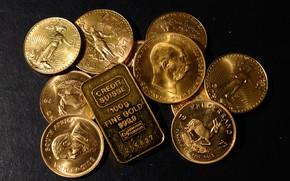 Картинка золото, деньги, монеты, слиток