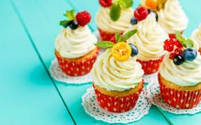 Картинка вишня, ягоды, черника, клубника, крем, выпечка, сладкое, кексы