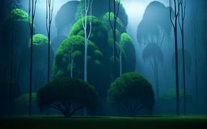 Картинка Фон, Greens, Render, Benjamin Perrot, by Benjamin Perrot, Green Forest, Природа, Рендеринг, Лес, Background, Деревья, …