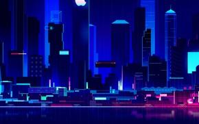 Картинка Дома, Ночь, Вектор, Музыка, Город, Стиль, Здания, Здание, Архитектура, Style, Neon, Illustration, Synth, Отражеие, Retrowave, …