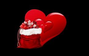 Картинка фон, Рождество, подарки, мешок, сердечко