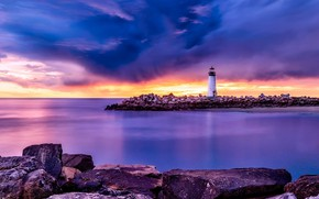 Картинка море, небо, закат, маяк