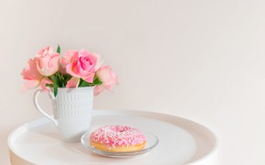 Картинка розы, розовые, пончик, глазурь