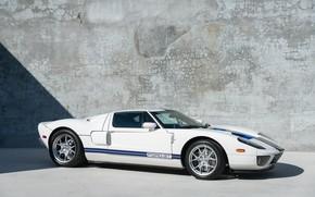 Картинка Белый, Суперкар, Синие полосы, Эксклюзивный автомобиль, 2005 Ford GT