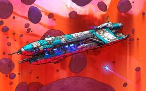 Картинка Космос, Арт, Space, Космический Корабль, Фантастика, Nebula, Астероиды, Cruiser, Spaceship, Carrier, Asteroids, by Eric Geusz, …