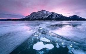 Картинка зима, небо, горы, берег, вершины, лёд, водоем, замерзший