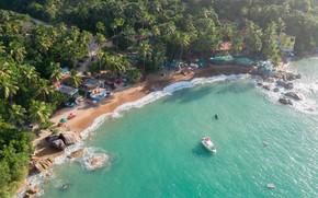 Картинка песок, волны, пляж, вода, тропики, камни, пальмы, океан, отдых, берег, остров