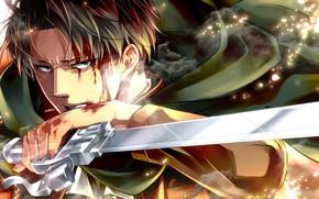 Картинка кровь, лезвие, Атака Титанов, Shingeki No Kyojin, Леви