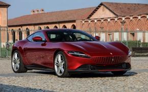 Картинка купе, брусчатка, площадь, Ferrari, мостовая, Roma, 2020