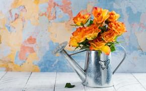 Картинка стол, розы, букет, лейка