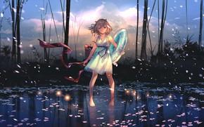 Картинка небо, вода, деревья, природа, девочка, предметы, goroku_jp