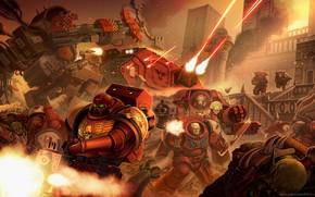Картинка space marines, orcs, tank, Warhammer 40 000, Blood Ravens, terminator armor