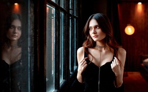 Картинка взгляд, отражение, Девушка, окно, Александр Юрмашев