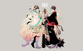 Картинка фон, парни, демоны, рог, Hoozuki no Reitetsu, Хозуки, Хладнокровный Хозуки, Хакутаку
