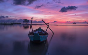 Картинка море, небо, облака, закат, отражение, лодка, лодки, вечер, горизонт, залив, Вьетнам, сумерки, водоем, деревянная, постройка, …