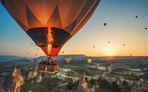 Картинка полет, горы, воздушный шар, Турция
