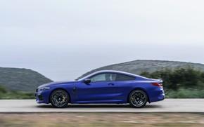 Картинка движение, купе, BMW, сбоку, 2019, BMW M8, M8, M8 Competition Coupe, M8 Coupe, F92