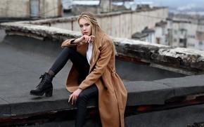 Картинка взгляд, девушка, поза, ботинки, пальто, на крыше, Денис Ланкин