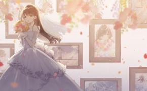 Картинка девушка, букет, невеста, портреты