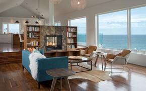 Картинка интерьер, кухня, камин, гостиная, столовая, Harbour heights home