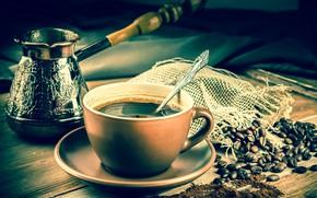Картинка стол, кофе, ложка, чашка, напиток, блюдце, зёрна, боке, турка