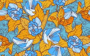 Картинка цветы, желтый, голубой, Винтаж, Шаблон, Цветочный