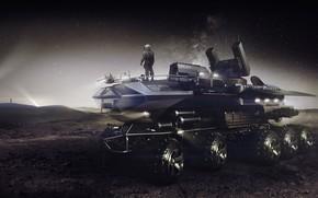 Картинка Ночь, Скафандр, Человек, Грузовик, Fantasy, Art, Поверхность, Фантастика, Truck, Рендеринг, Транспорт, Sci-Fi, Science Fiction, Encho …