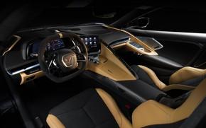Картинка Corvette, Chevrolet, Салон, Кожа, Руль, Stingray, 2020, Chevrolet Corvette ( C8 ) Stingray