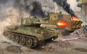 Картинка Огонь, Tiger II, Т-34-85, Королевский Тигр, Средний Танк, Тяжёлый Танк