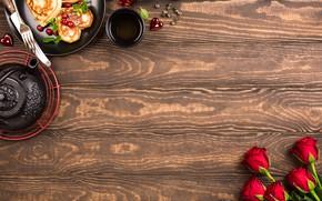 Картинка чай, розы, букет, завтрак, блины, Iryna Melnyk