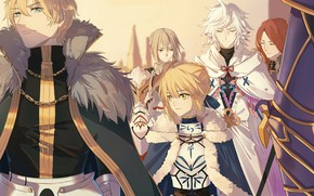 Картинка Fate/stay night, Saber, Archer, Merlin, Fate/Grand Order, Bedivere, Gawain, Tristan