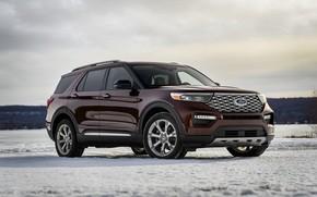 Картинка снег, Ford, SUV, Explorer, Platinum, 2020