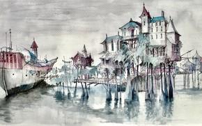 Картинка рисунок, корабль, причал