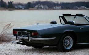Картинка чёрный, Maserati, 1969, родстер, спайдер, задняя часть, Ghibli Spider