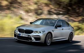 Картинка серый, движение, размытие, BMW, седан, 4x4, 2018, четырёхдверный, M5, V8, F90, M5 Competition
