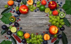 Картинка киви, черника, виноград, лайм, персик, wood, абрикосы