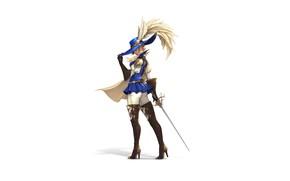 Картинка Girl, Art, Style, France, Illustration, Minimalism, Hat, Sword, Figure, Feathers, Character, Pretty Woman, D'artagnan, Hye …