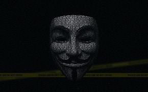 Картинка надписи, полиция, текстура, маска, черный фон, запрет, Сопротивление, хакер, Вендетта, кибер герои, кибер атака