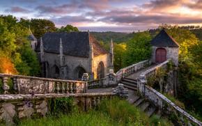 Картинка зелень, лето, замок, лестница