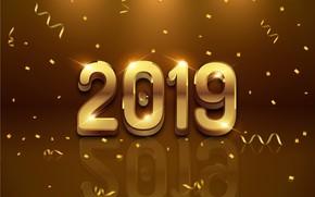 Картинка фон, золото, Новый Год, цифры, golden, black, background, New Year, Happy, sparkle, 2019