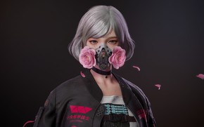 Картинка девушка, розы, маска, киллер, розовые розы