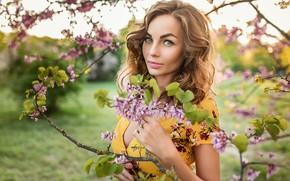 Картинка blonde, Георгий Дьяков, flowers, smile