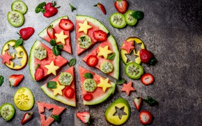 Картинка ягоды, арбуз, клубника, манго, мята