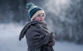 Картинка зима, малыш, боке