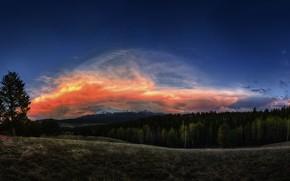 Картинка небо, облака, природа, Пейзаж, закат.