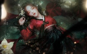 Картинка вода, девушка, цветы, лежит, азиатка