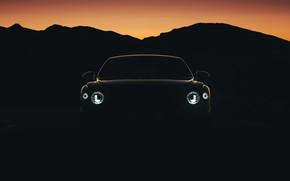 Картинка фары, Bentley, сумерки, Flying Spur, 2020, Blackline